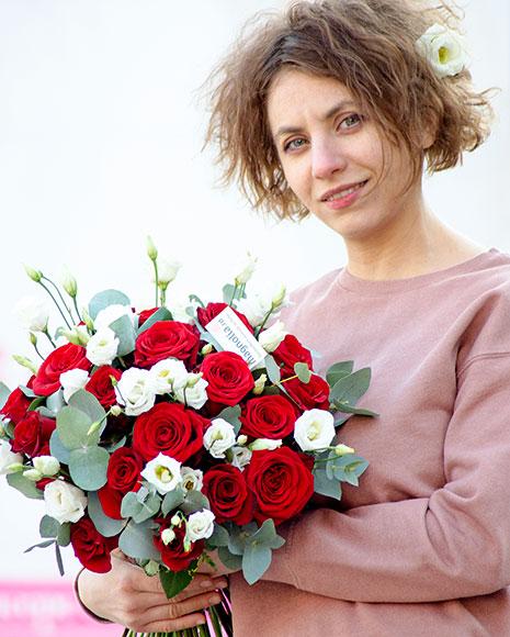 Buchet trandafiri si eustoma