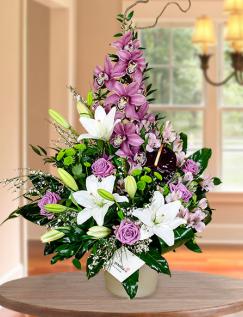 Aranjament orhidee, crini, trandafiri, crizanteme, alstroemeria