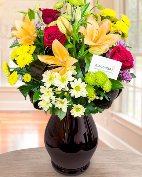 Buchet crini, trandafiri şi crizanteme
