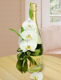 Aranjament pe sticlă de şampanie cu particule de aur