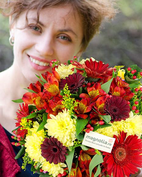 Buchet cu flori roşii şi galbene