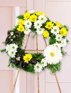 Jerbă funerară cu crizanteme şi gerbera