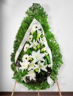Coroană funerară cu crini si gerbera