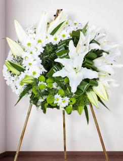 Jerbă funerară cu flori albe şi verzi