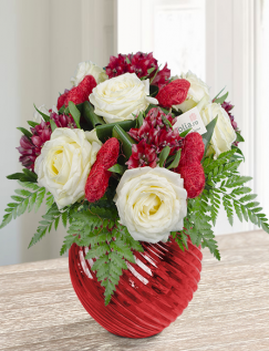 Buchet trandafiri albi si alstroemeria