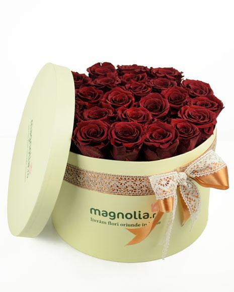 Trandafiri criogenati rosii in cutie crem