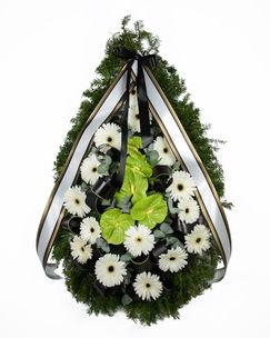 Coroana funerara cu gerbera si anthurium