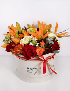 Aranjament in cutie cu flori mixte