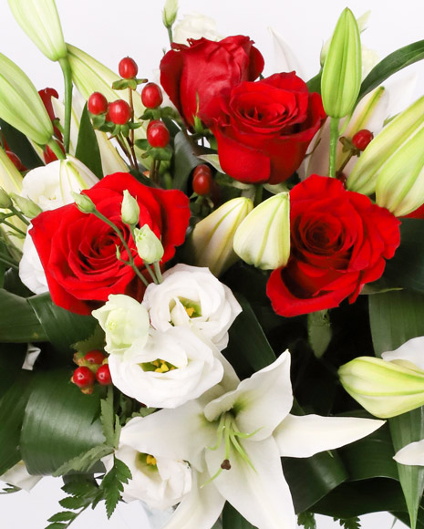 Bouquet with roses, imperial lilies, eustoma