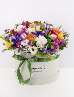 Cutie cu flori multicolore