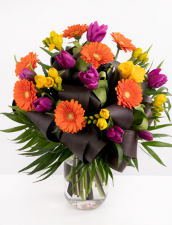 Bouquet with freesias, tulips and gerbera