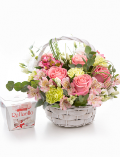 Basket filled with delicate flowers