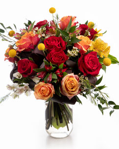 Buchet cu trandafiri și craspedia