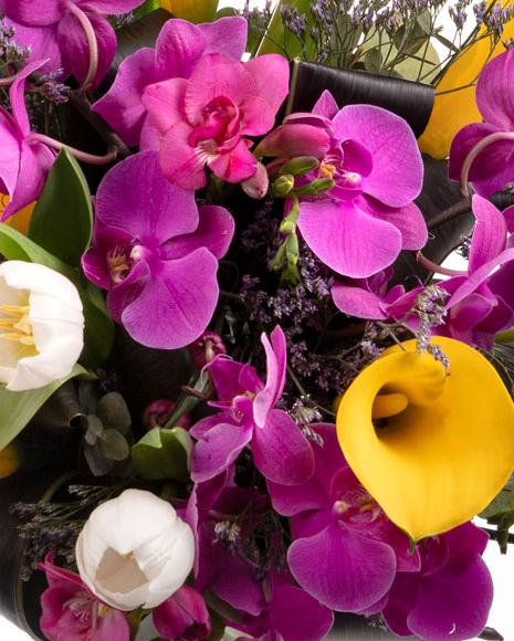 Buchet cu orhidee şi cale