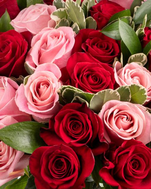 Buchet cu trandafiri roșii și roz