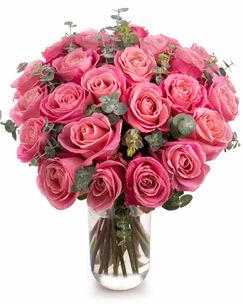 Buchet de trandafiri roz şi eucalipt baby