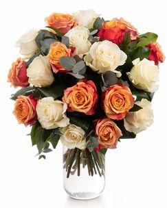 Buchet trandafiri portocalii și albi