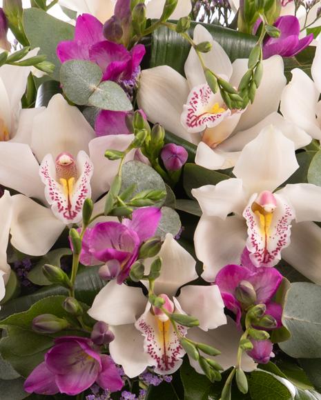 Buchet orhidee cymbidium și frezii