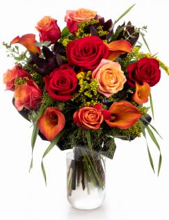 Buchet cu mix de trandafiri și cale