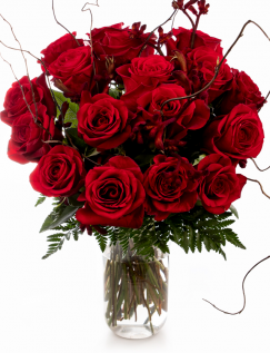 Buchet trandafiri roșii și salix