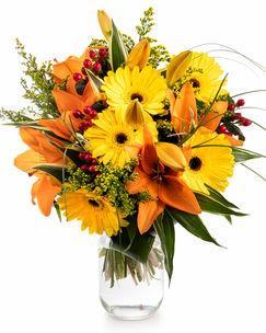 Yellow gerbera and orange lilies bouquet