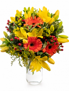 Bouquet with orange gerbera and yellow lilies