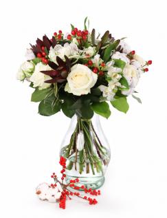 Buchet de iarna cu trandafiri albi