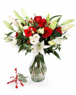 Buchet trandafiri, crini, eustoma
