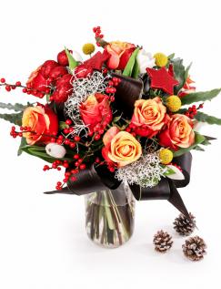Buchet de Craciun cu flori portocalii